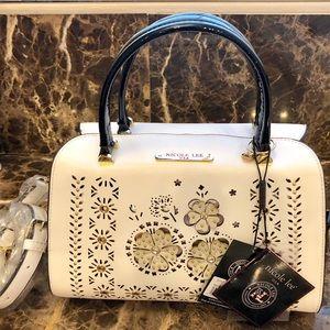 """""""LAEL""""  Black & White Floral Laser Cut Boston Bag"""